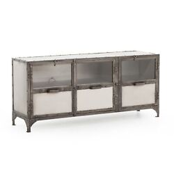 60 L Aime Media Console Solid Iron Antique Nickel Metal Heavy Industrial Modern
