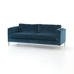 84 L Merlin Quot Sofa Sapphire Bay 92poly5cot3latex Stainless Steel Antique