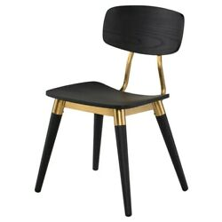 20.5 W Set Of 2 Dining Chair Modern Classic Black Solid Oak Wood Brass Accents