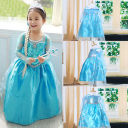 Toddler Girl Kid Children Princess Anna Elsa Cosplay Costume Kid's Party Dress
