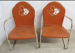 Vintage Metal Mickey Mouse Walt Disney Productions Lawn Chairs 1955