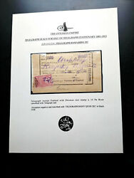 """Ext Rare """"only 01 Known"""" Cat Value Usd 2250.00 """"earliest"""" Ottoman """"telegraph Pos"""