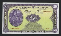 1977 IRELAND 50 Pounds P-68c Pack Fresh UNC w Heavy Embossing Very Rare Grade