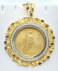 1.00 Ct Natural Diamond American Eagle Nugget Coin Frame 14k Yellow Gold Video