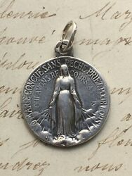 Miraculous Virgin Mary Medal - Sterling Silver Antique Replica