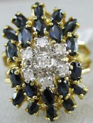 Estate Large Diamond Sapphire 14k Yellow Gold Cluster Cocktail Ring 22m L1336.61