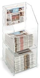 34 Floor Newspaper Stand 2 Tier Holdertall Display Clear Acrylic Qty 12