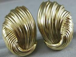 Estate Large 14k Yellow Gold Wide Ripple Sea Shell Clip Earrings 31mm L1336.169