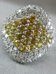 ESTATE 4.1CTW DIAMOND YELLOW SAPPHIRE 18K GOLD CLUSTER COCKTAIL RING L1332.20.15