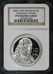 2006-p Franklin Founding Father Silver Dollar Ngc Pf-70 Ultra Cameo
