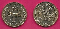 Madagascar 20 Francs 4 Ariary 1989 Unc Cotton Plantvalue Within Horns Of Ox H