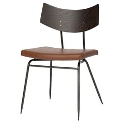 19 W Set Of 2 Stackable Dining Chair Leather Curved Wood Backrest Iron Modern