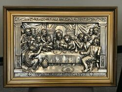 """Antique Masterpiece -""""jesus' Last Supper""""- Tin Metal Wall Art/ Early 1900s"""