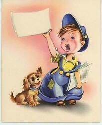 VINTAGE NEWSPAPER PAPER BOY BLUE OVERALLS YORKSHIRE PUPPY DOG NOTE CARD PRINT