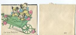 VINTAGE TERRIER PUPPY DOGS GARDEN ROSES WHEEL BARREL GREETING PAPER LITHO CARD
