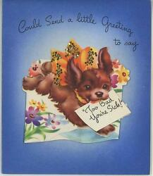 VINTAGE YORKSHIRE TERRIER PUPPY DOG FLOWERS MAIL LITHOGRAPH CARD ART OLD PRINT
