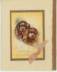 VINTAGE BROWN ENGLISH COCKER SPANIEL DOGS GET WELL LITHOGRAPH CARD ART OLD PRINT