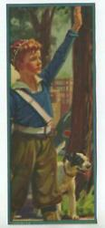 VINTAGE NEWSPAPER BOY REDHEAD CHILD JACK RUSSELL TERRIER  DOG SMALL LITHO PRINT