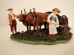 Lang And Wise Colonial Williamsburg Collection Working Field With Oxen 1997 New