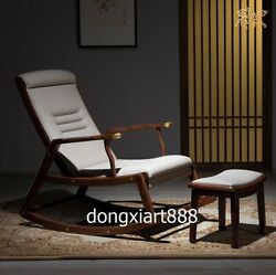 Brass Black Walnut Solid Wood Furniture Leather Bedroom Leisure Rocking Chair