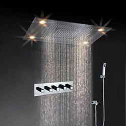 31 Inch 600mmx800mm Large Rain Waterfall Led Rectangle Shower Set 4 Functions