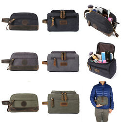 Mens Toiletry Bag Canvas Travel Organizer Case Shaving Cosmetic Portable Vintage