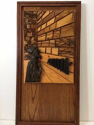 Vintage Handcarved Wooden Western Wailing Wall Jewish Religious 3-d Panel