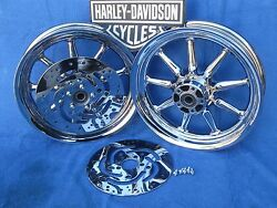 Harley Ultra Touring Flh Chrome 9 Spoke Wheels Package Deal 00 And Up Ultras