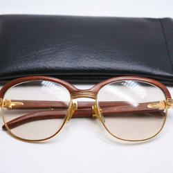 Authentic Cartier Sunglasses Glasses Wood Color Brown Trinity Made in France