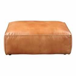 41 L Patrice Ottoman Tan Top Grain Leather Solid Pine Wood Frame Modern
