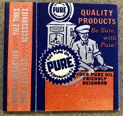 Vintage Pure Oil Company Large 3 Matchbook Gas And Oil Service Station Advertiser