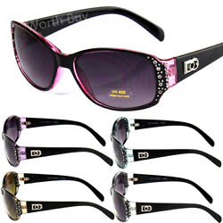 New Womens Rhinestones Oval Wrap Sunglasses Designer Fashion Shades Small Retro $8.27