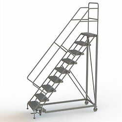 9-Step Steel Rolling Ladder w/Serrated Steps Gry 90inH Top Step 24in 450lb Cap