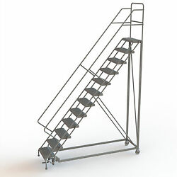 12-Step Steel Rolling Ladder w/Perforated Steps 120inH Top Step 24in 450lb Cap