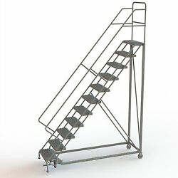 11-Step Steel Rolling Ladder w/Perforated Steps 110inH Top Step 24in 450lb Cap