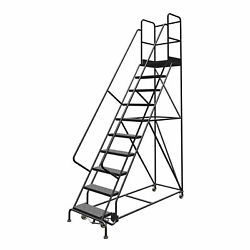 10-Step Steel Rolling Ladder w/Perforated Steps 24inWx20inD Plat 450lb Cap