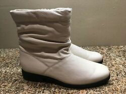 Weather Protectors By Totes White Leather Ankle Boots sz 7.5 M Side Zipper $26.95