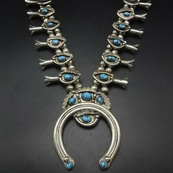 Signed Vintage Navajo Sterling Silver Blue Turquoise Squash Blossom Necklace