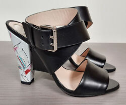 Fendi Black Leather Ankle Strap And Floral Heel Sandals Womens Size 7.5 And 9 900