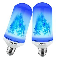 Texsens LED Blue Flame Effect Light Bulbs - 4 Modes Flickering Fire Flame... New