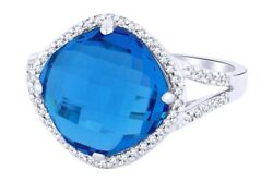 6.26 Ctw Blue Topaz And White Natural Diamond Cocktail Ring 14k Solid White Gold