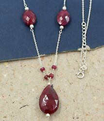 Solid 925 Sterling Silver Ruby Corundum Gemstone Womanand039s Wear Gift Necklace
