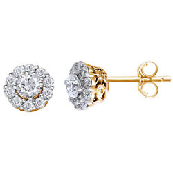 1 Cttw Round Cut Diamond Cluster Stud Earrings 18k Yellow Gold Christmas Special