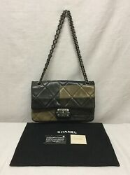 Bag Boy Flap Patchwork Quilted Lambskin Medium - Olive Brown And Gray