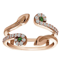 0.41 Ct Emerald And Diamond Two Stone Leaf Ring Guard Enhancer In 14k Rose Gold