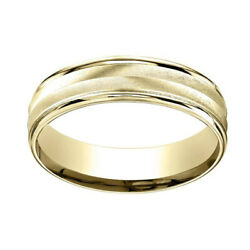 14k Yellow Gold 6mm Comfort-fit Chevron Design High Polished Band Ring Sz-12