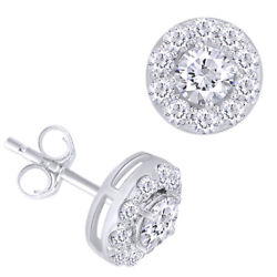 1.00 Cttw Round Diamond Halo Stud Earrings In 14k White Gold Christmas Special