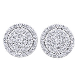 Round Diamond Cluster Stud Earrings 1/2cttw In 14k White Gold Christmas Special