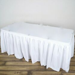 Pack Of 6 X Polyester Pleated Table Skirt White 14ft 172 Event Wedding Party