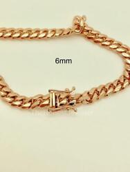 14k Solid Rose Gold Miami Cuban Necklace Chain Or Mens Bracelet 6mm
